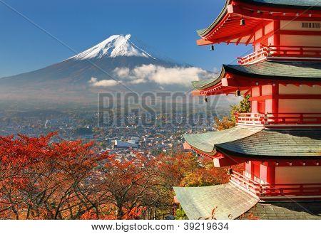 Mt. Fuji viewed from behind Chureito Pagoda.