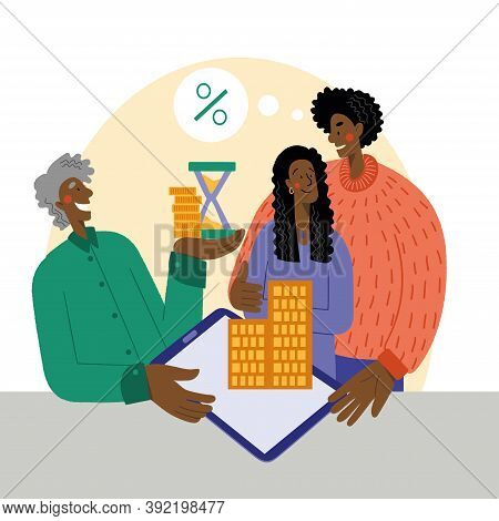 Black Woman And Man Buy An Apartment With A Mortgage. The Family Buys A House With A Mortgage. A You