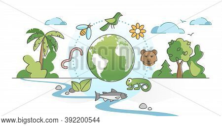 Biodiversity As Species Variety And Difference Protection Outline Concept. Wild Fauna As Mammals, Bi