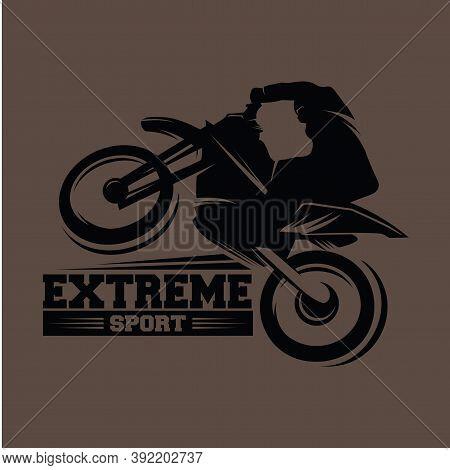 Moto Track Logo.  Motocross Jump Illustration Logo Vector