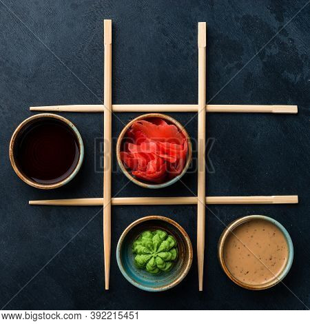 Set For Sushi Soy Sauce Ginger Wasabi With Chopstick On Black Background, Soy Sauce, Wasabi And Ging