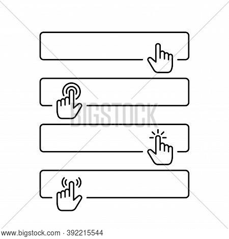 Click Submit Blank Button In Line Style Design With Various Hand Finger Cursor