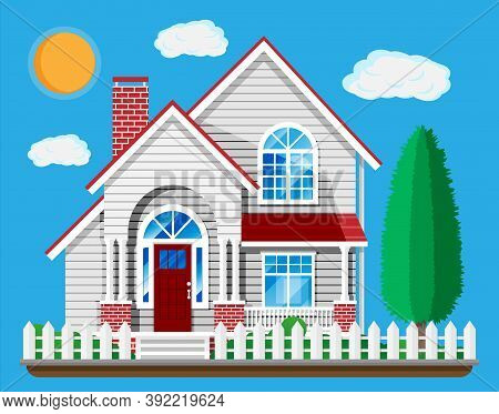 Suburban Family House Isolated On Blue. Countryside Wooden House Building Icon. Real Estate And Rent