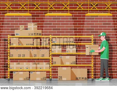 Warehouse Interior With Goods, Mover And Container Package Boxes. Pile Cardboard Boxes Set. Carton D
