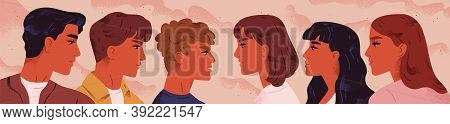 Young Men And Women Standing Opposite And Looking At Each Other. Concept Of Confrontation Between Ma