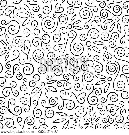 Abstract Swirl Pattern In Black And White With Flower And Heart Shapes. Outline Vector Seamless Repe