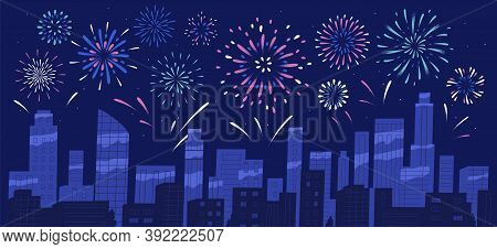 City Holiday Celebration Panorama With Bright Festive Firework Show. Night Sky Of Megapolis With Spa