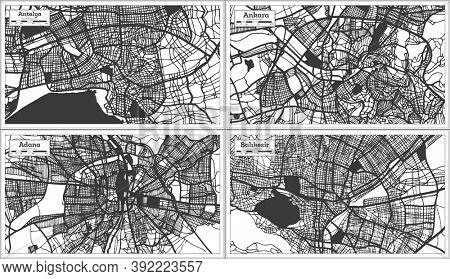 Adana, Ankara, Balikesir and Antalya Turkey City Maps Set in Black and White Color in Retro Style. Outline Maps.