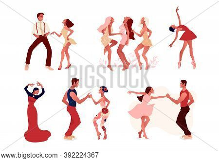 Dance Studio Set. Ballet, Salsa And Modern Dance