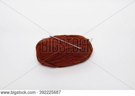 Woolen Thread With A Crochet. Hobby, Needlework, Crochet.