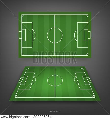 Football Field Or Soccer Field Background. Green Grass Court For Create Soccer Game. Vector Illustra