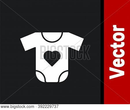 White Baby Clothes Icon Isolated On Black Background. Baby Clothing For Baby Girl And Boy. Baby Body