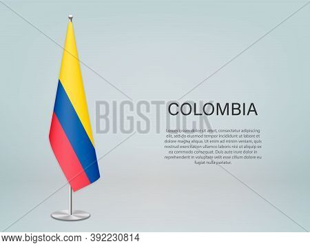 Colombia Hanging Flag On Stand. Template Forconference Banner