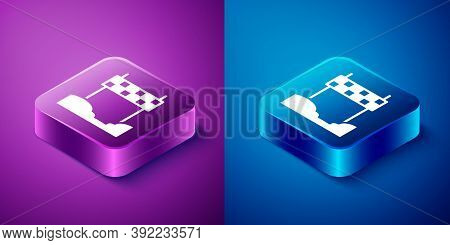 Isometric Ribbon In Finishing Line Icon Isolated On Blue And Purple Background. Symbol Of Finish Lin