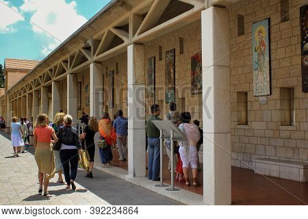 Nazareth, Israel - May 7, 2011: This Is The Outer Arcade Gallery Of The Basilica Of The Annunciation