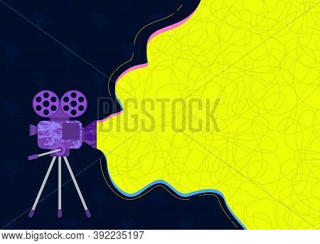 Movie Time Creative Poster Template. Cinema Banner. Film Projector With Film Reels. Flat Vector Illu