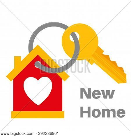 New Home House Key With Love Heart Icon Vector Illustration. Real Estate Icon Fully Editable Text