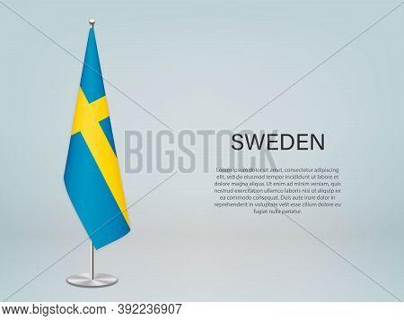 Sweden Hanging Flag On Stand. Template Forconference Banner
