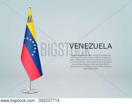 Venezuela Hanging Flag On Stand. Template Forconference Banner