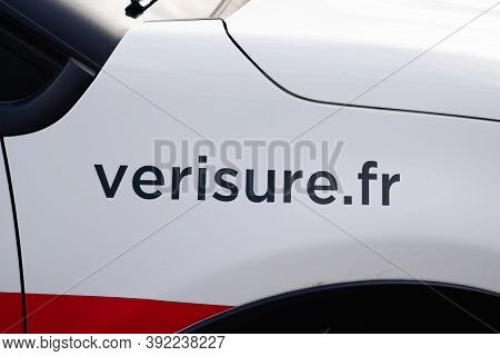 Bordeaux , Aquitaine / France - 10 20 2020 : Verisure Logo Sign Home Alarm Triggers On Advertising C