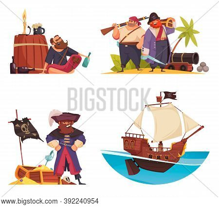 Pirate Set Of Cartoon Compositions With Doodle Pirates Characters Ship Armour And Flags With Treasur