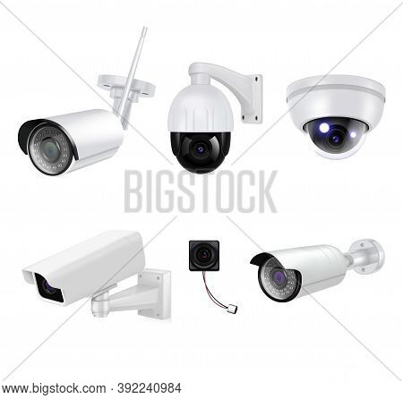 White Video Surveillance Security Cameras Isolated And Realistic Icon Set For Different Purposes Vec