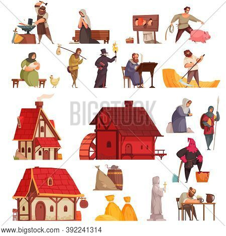 Cartoon And Isolated Medieval Icon Set With Houses Taverns Villagers Blacksmith Executioner Vector I