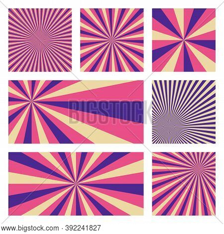 Amazing Sunburst Background Collection. Abstract Covers With Radial Rays. Artistic Vector Illustrati