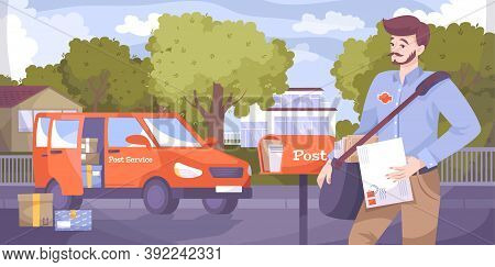 Postman Flat Composition Of Outdoor Street Scenery With Postal Worker Delivering Letters And Parcels