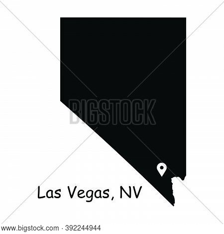 Las Vegas On Nevada State Map. Detailed Nv State Map With Location Pin On Las Vegas City. Black Silh