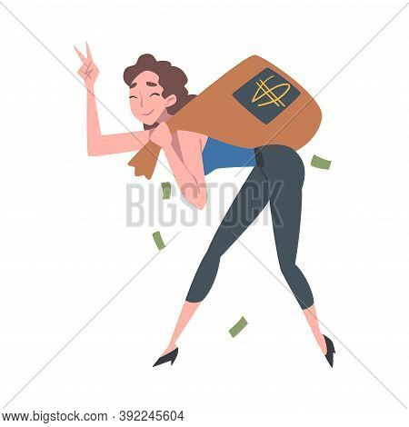 Successful Rich Girl Running Carrying Bag Full Of Money, Wealthy Person, Millionaire Character, Fina