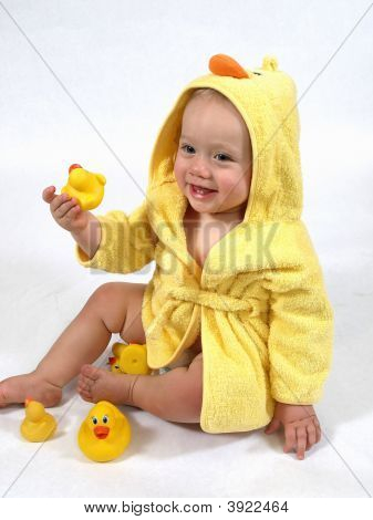 Happy Baby In Yellow Duck Robe