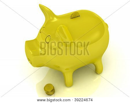 Yellow Piggy Bank And Gold Coins