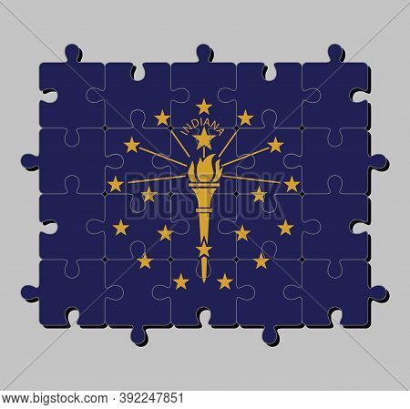 Jigsaw Puzzle Of Indiana Flag In Gold Torch Surrounded By An Outer Circle Of Stars, An Inner Semi Ci