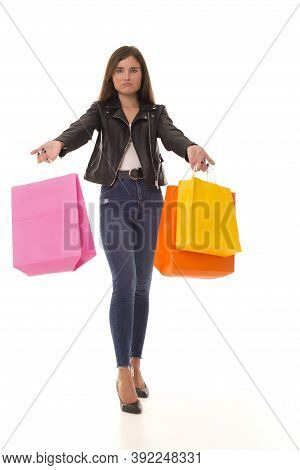 A Young Girl Upset With Unsuccessful Shopping.