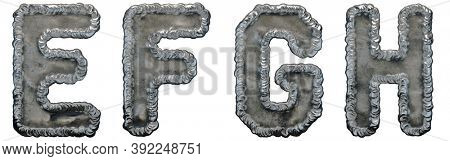 Set of capital letters E, F, G, H made of industrial metal isolated on white background. 3d rendering