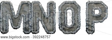 Set of capital letters M, N, O, P made of industrial metal isolated on white background. 3d rendering