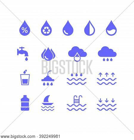 Collection Of Icons Related To Water Resources. Suitable For Design Elements From Infographics, Drin