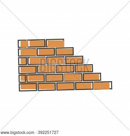 Vector Brick Icon. Illustration Of Brickwork. Brick Wall Icon Cartoon Style On White Isolated Backgr