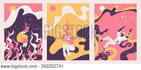 Concept Illustrations About Depression And Mental Problems. Vector Outline Collection With People Dr
