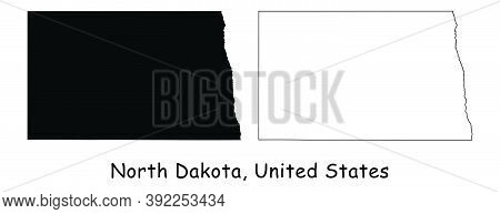 North Dakota Nd State Maps. Black Silhouette And Outline Isolated On A White Background. Eps Vector
