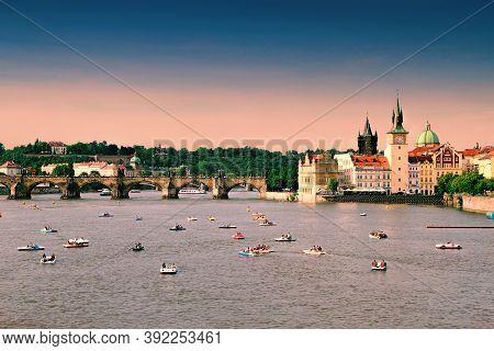 Prague, Czech Republic - June 04, 2016: People Walking On The Charles Bridge In Prague, Czech Republ