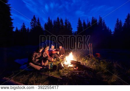 Evening Camping Near Fire, Spruce Forest On Background. Group Of Four Friends Sitting Together Near