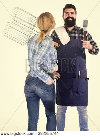 Barbecuing Common Technique. Cooking Together. Essential Barbecue Dishes. Bearded Hipster And Girl H
