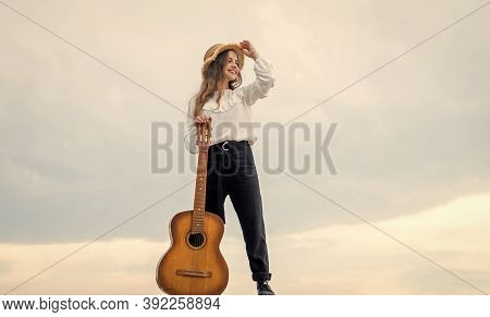 Relax With Favorite Music. Musical Shop. Happy Girl Enjoy The Moment. Have Fun On Celebration. Kid S
