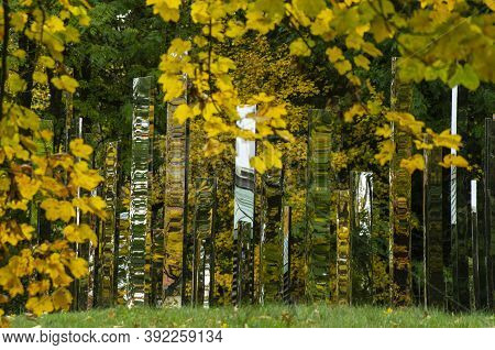 Autumn Landscape. Autumn City Park, Yellow Autumn Fallen Leaves On The Foreground.