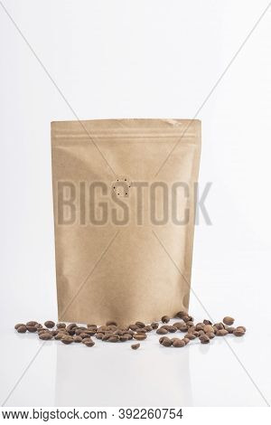 Coffee Craft Paper Bag Isolated On White Background.