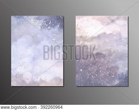 Watercolor Painting, Soft Blue And Purple Vector Design Frame. Gold Border. Trendy Wedding Invitatio