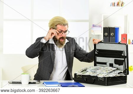 Businessman With Cash. Tax Payment. Company Income Fraud. Bank Account. Credit And Cash Concept. Fin