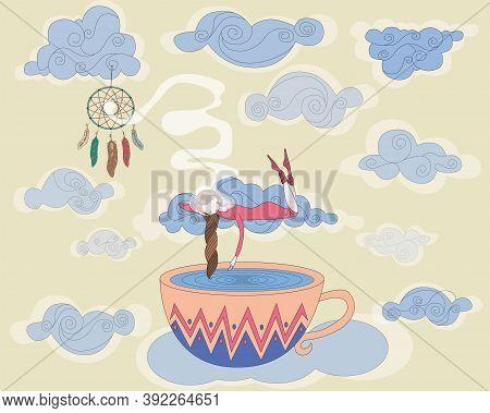 Sleeping Girl. Dream. Dream Catcher. The Clouds. Airy World. Magic.